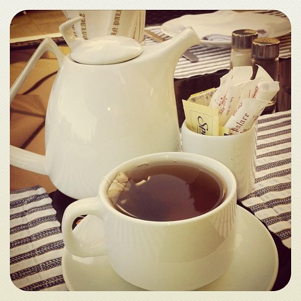 Good Morning Tea With Breakfast : Good morning tea breakfast hot cup water teapot mi