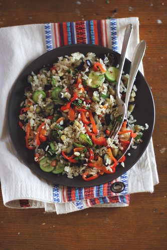 Brown Rice with Vegetables and Pinenuts | by anna kurzaeva