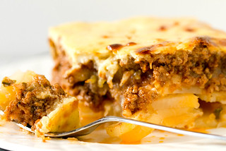 Moussaka – layers of potato, beef, eggplant and béchamel sauce | by Brown Eyed Baker