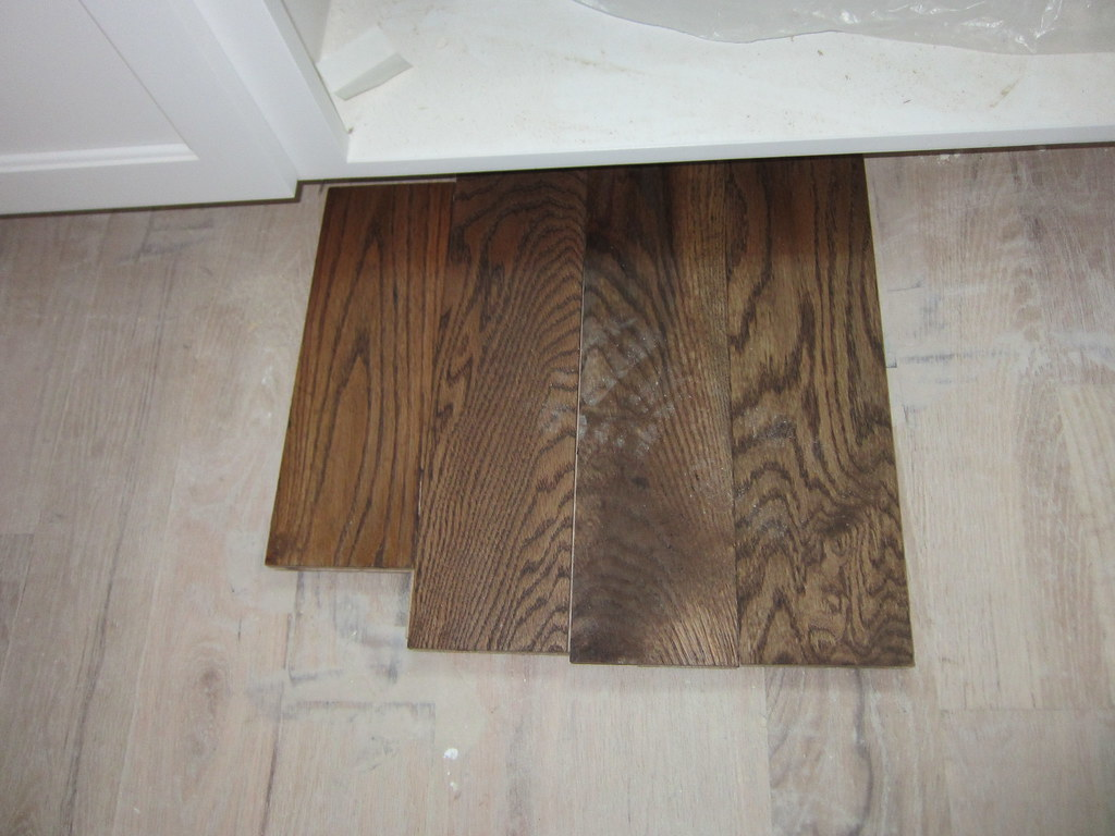 Hardwood floor sample | Provincial stain floor next to ...