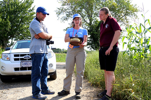 Bob Purcell, Kathryn Zichelle Sullivan, and Samantha Whittier reviewing the farm conservation plan