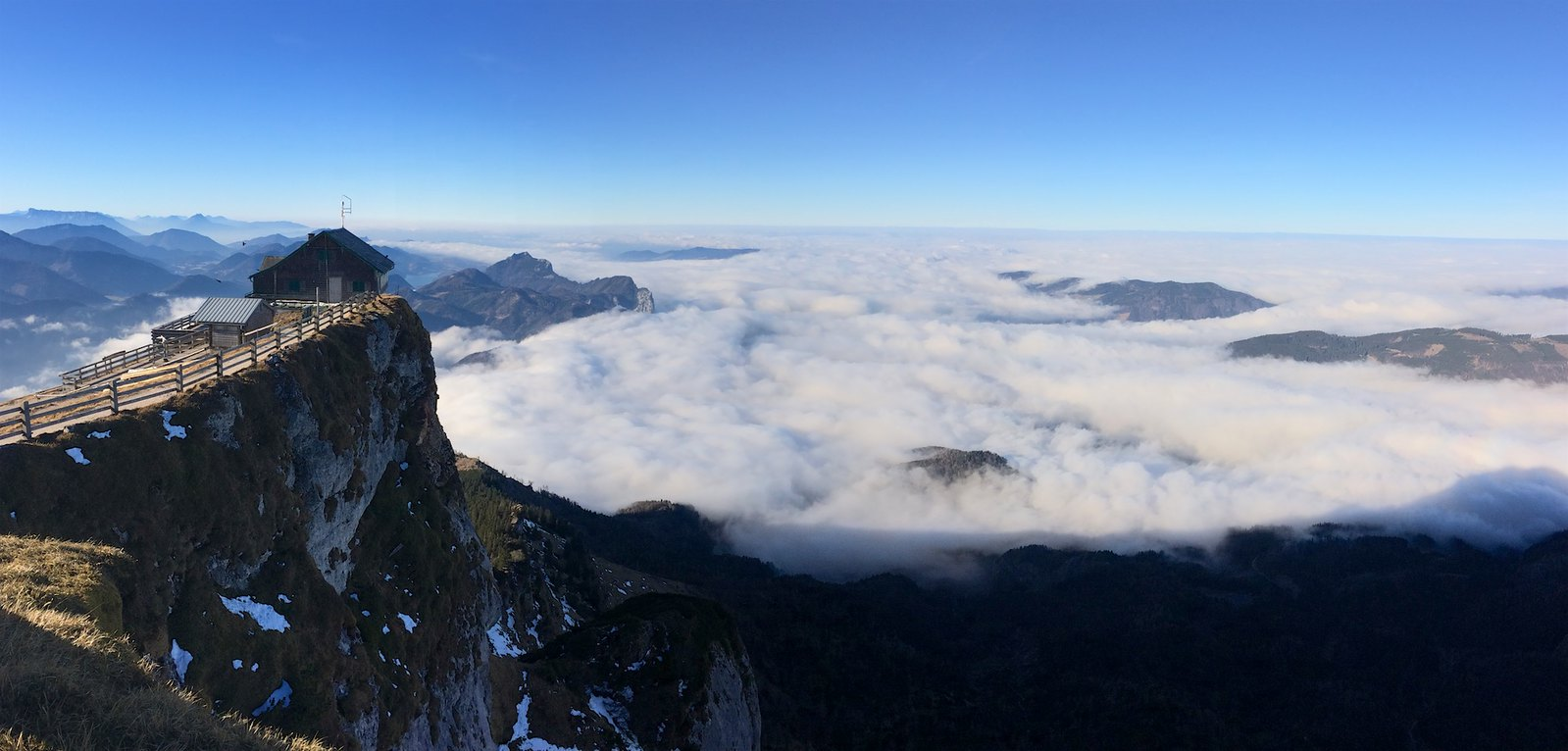 Schafberg panorama k Attersee a Mondsee