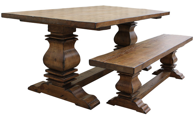 Austin reclaimed wood dining table and bench flickr for Reclaimed wood furniture los angeles