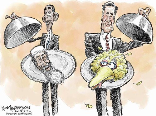 obama and romney and big bird | by icebergslim2012