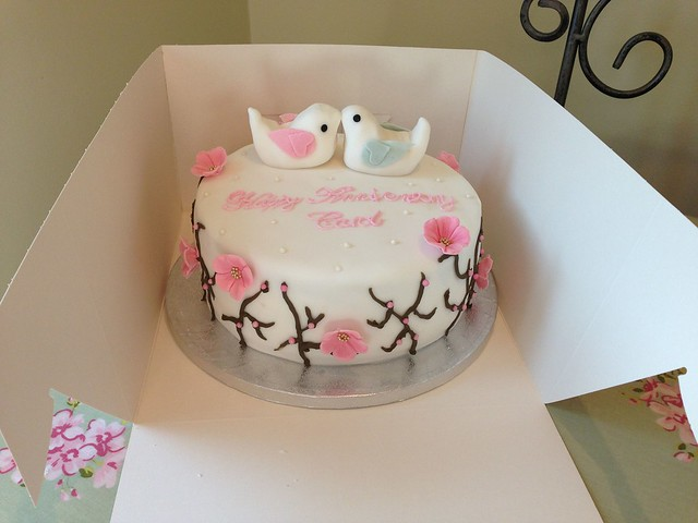 Love Anniversary Cake Images : Blossom and Love Birds Anniversary Cake Flickr - Photo ...
