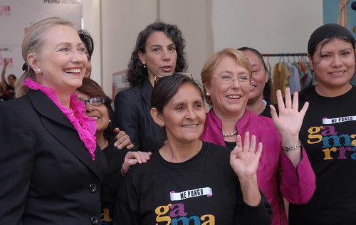 UN Women Executive Director Michelle Bachelet and US Secretary of State Hillary Rodham Clinton visit the textile production and trade center of Gamarra in Lima, Peru, where both had the opportunity to talk with women entrepreneurs on 16 October | by UN Women Gallery