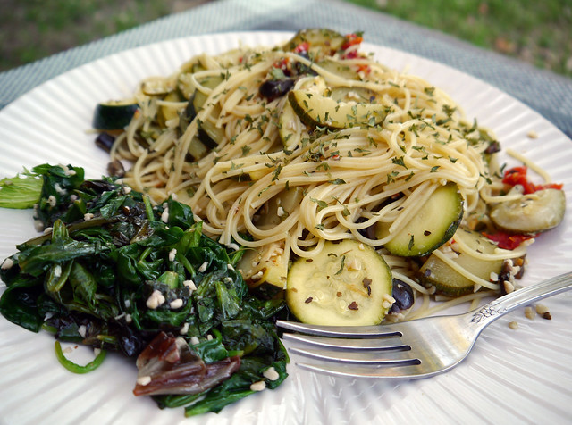 Garlicky Spaghetti with Zucchini and Greens from Pasta East to West ...
