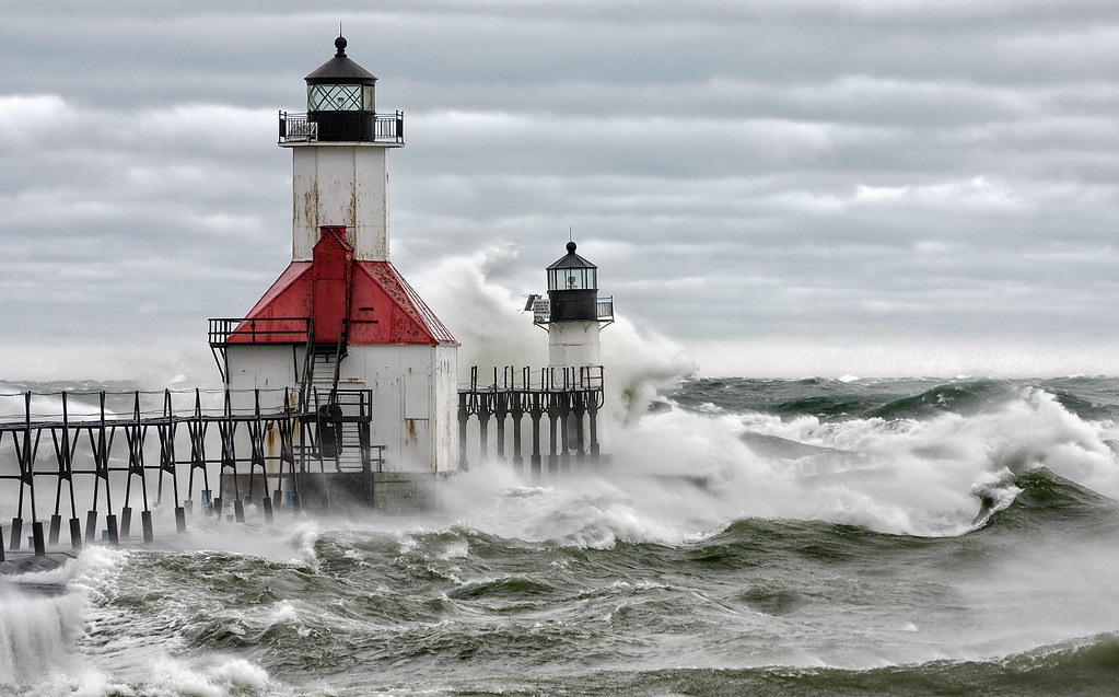 Crashing Waves Color As Hurricane Sandy Moved Inland