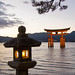 The famous Torii Gate of the Itsukushima Shrine with Lantern, Miyajima