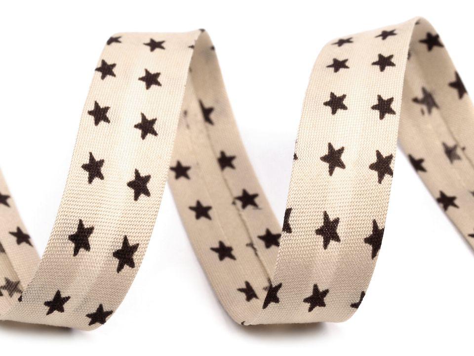 Schrägband Sterne 14mm, beige-braun