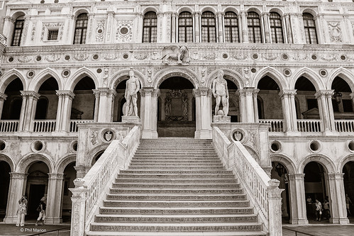 Marble staircase in the Doge's Palace (Palazzo Ducale) - Venice, Italy | by Phil Marion