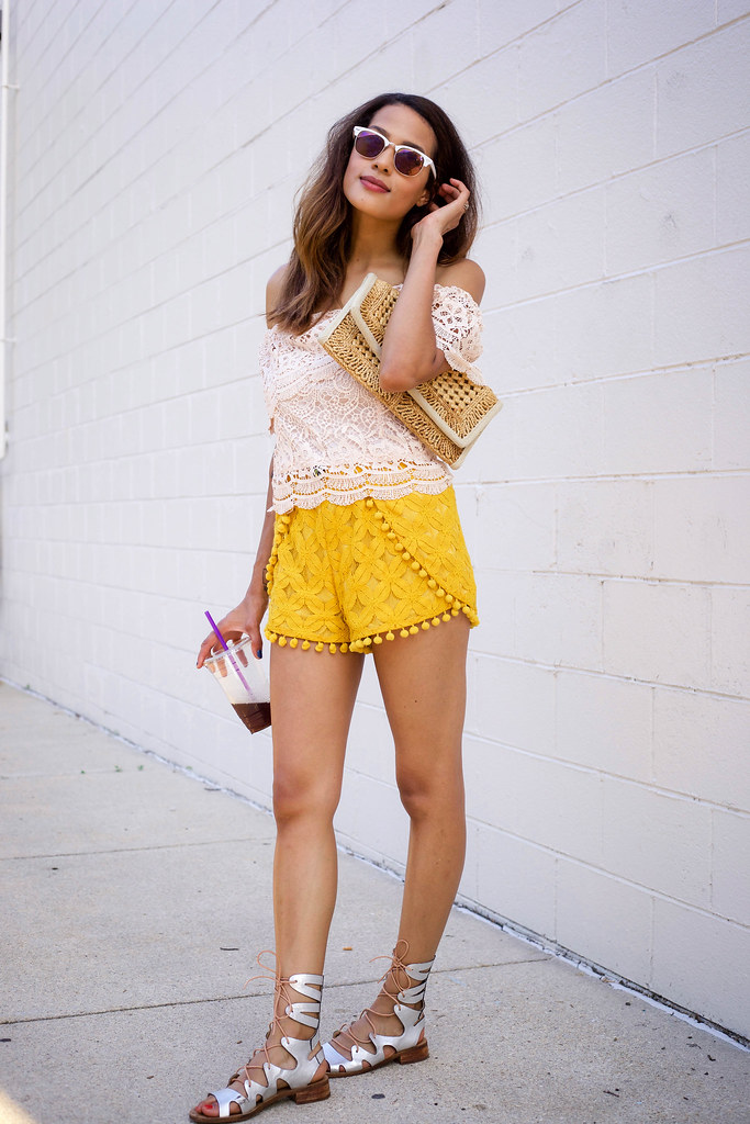 yellow pom pom shorts