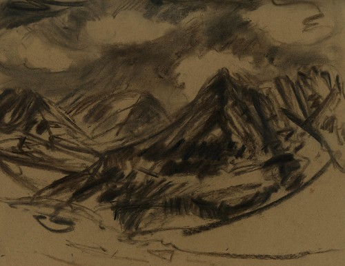 Alaska: mountains drawn with found charcoal stubs | by Laura Frankstone