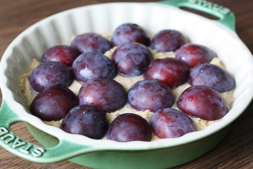 plums on batter