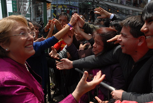 UN Women Executive Director Michelle Bachelet greets crowds at her arrival at the textile production and trade center of Gamarra in Lima, Peru, on 16 October | by UN Women Gallery