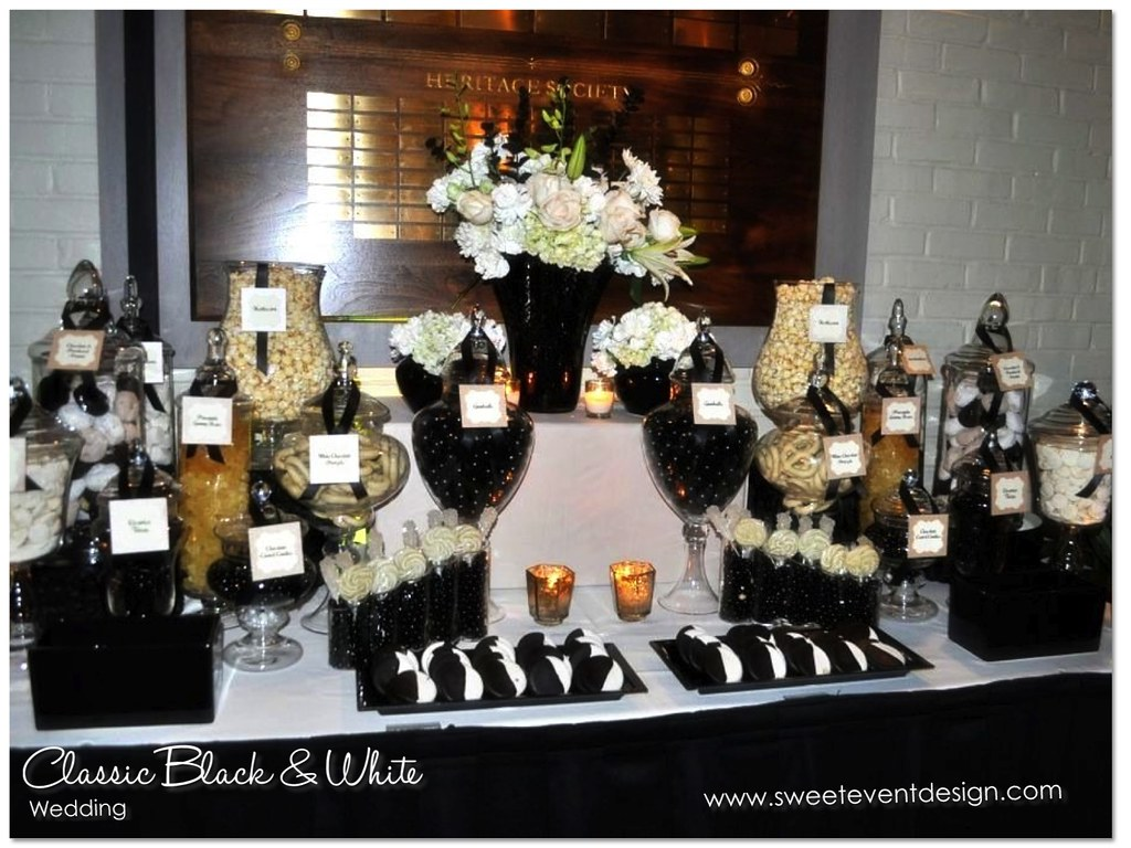 Black White Candy Dessert Buffet Black White