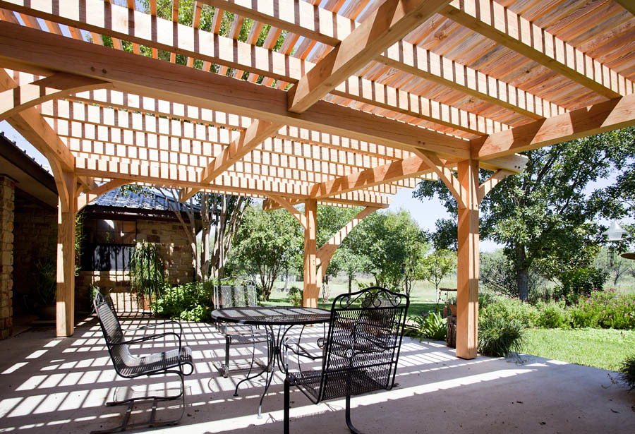 Texas Timber Frames - Pergola | Nice sitting area featuring … | Flickr