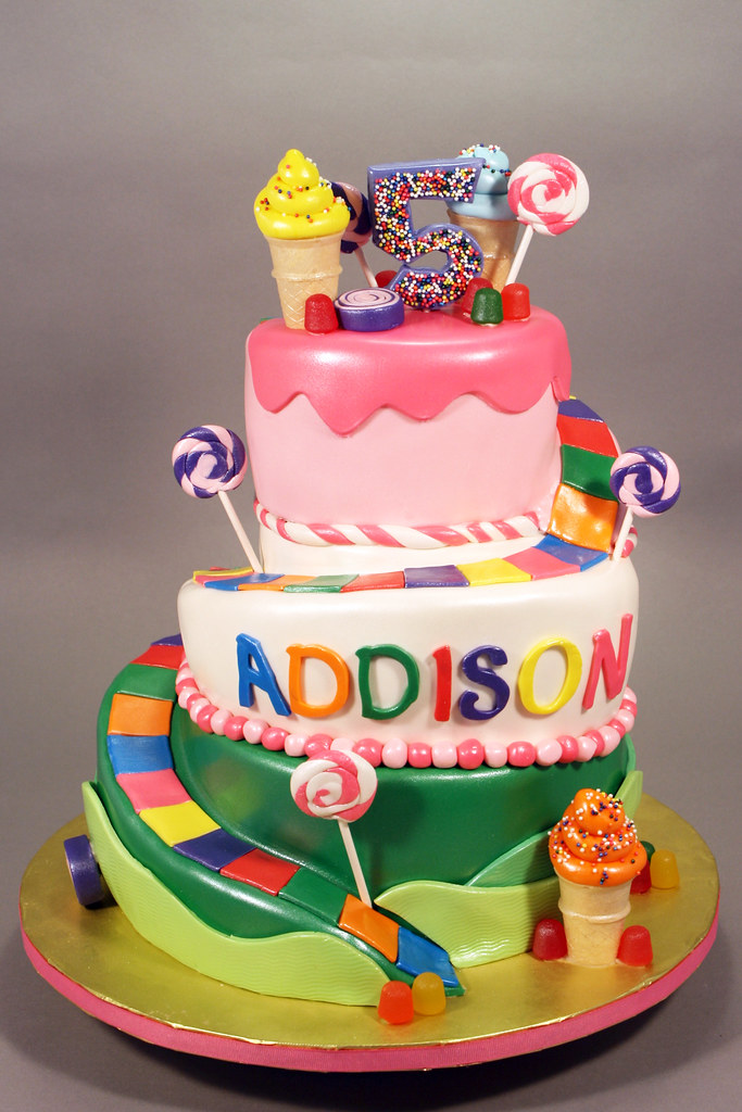 Candyland Theme 5th Birthday Cake Decorated In Fondant And Flickr