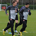 Nacho Monreal and Mikel Arteta in training