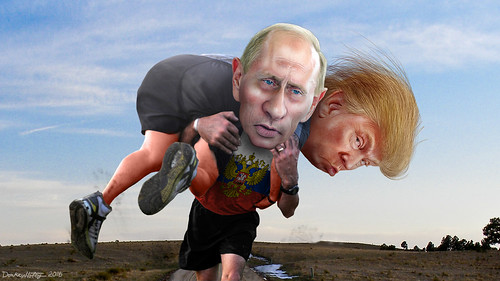 Vladimir Putin carrying his buddy Donald Trump | by DonkeyHotey
