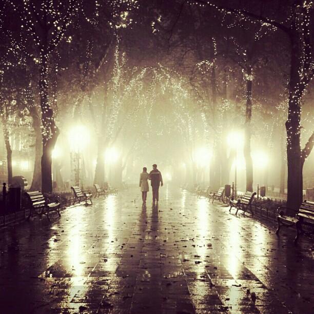 Two Fog Night Love Odessa Ukraine Autumn Fall Lig