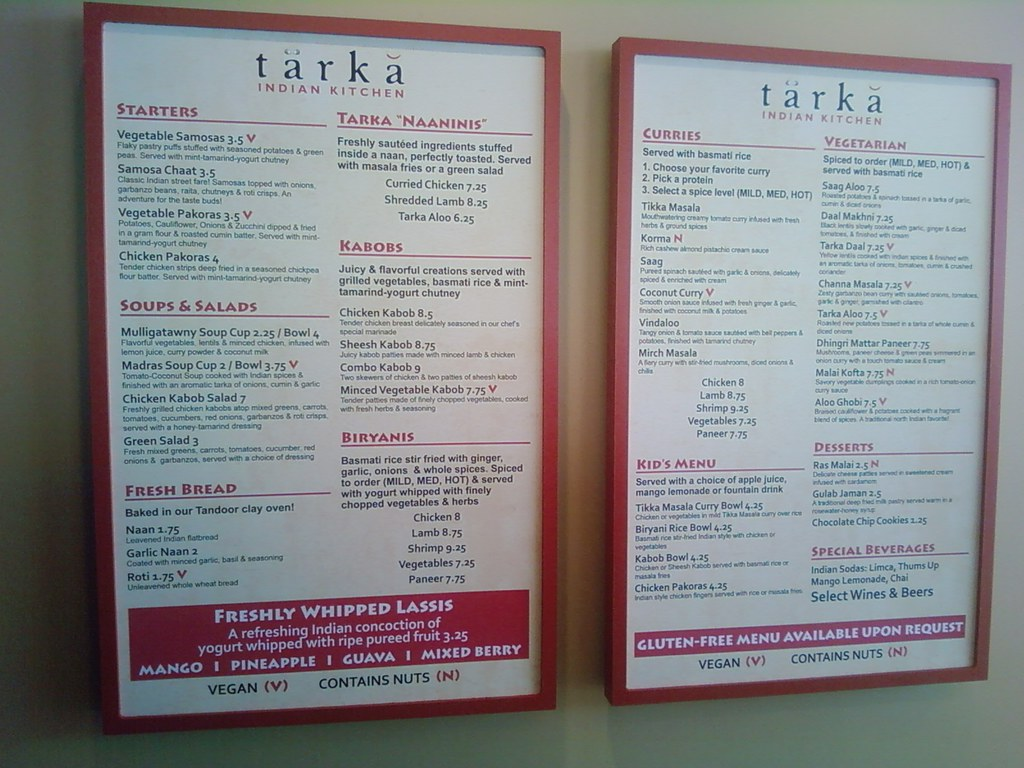 Tarka Indian Kitchen Menu | I\'ve blogged about this here - t… | Flickr