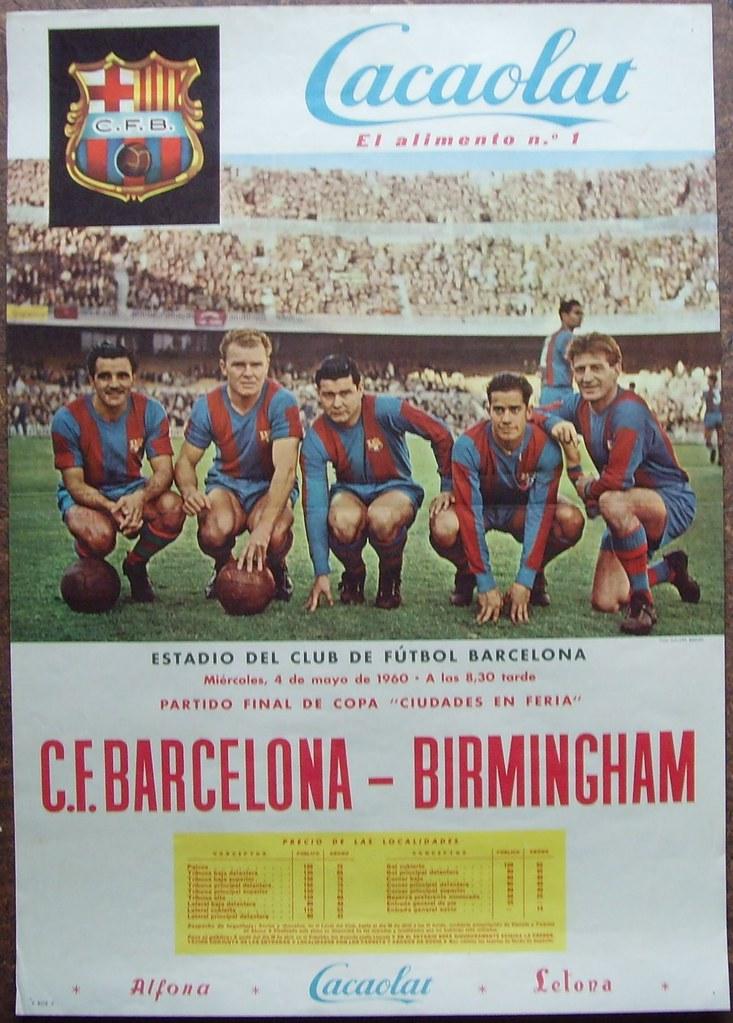 1960 Fairs Cup Final Barcelona V Birmingham City Poster