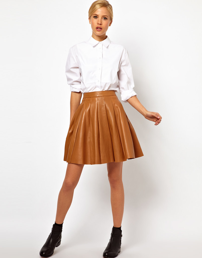 white button up shirt caramel leather skirt ejt1977