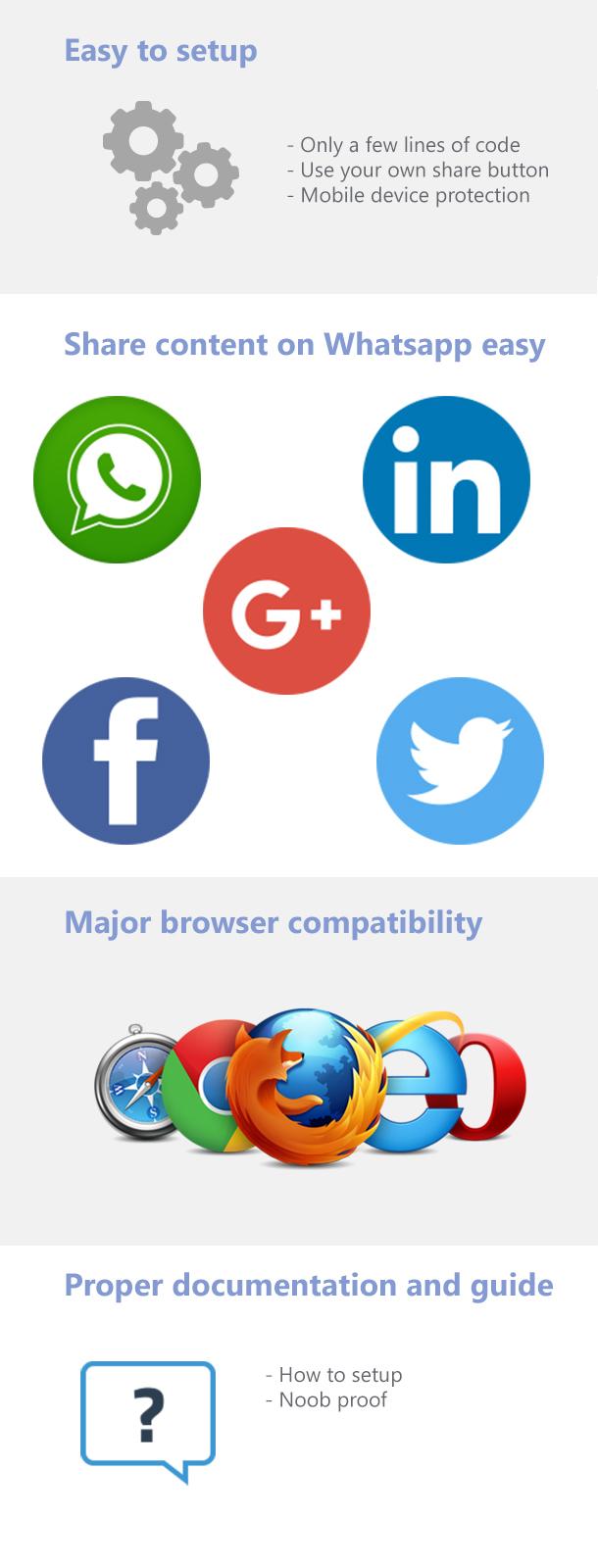 WhatsApp & Social Sharing - social-networks, javascript, codecanyon