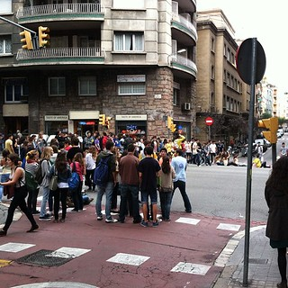 #kvpspain : Our first student protest in #barcelona . They blocked off streets near Metro #fb | by queenkv