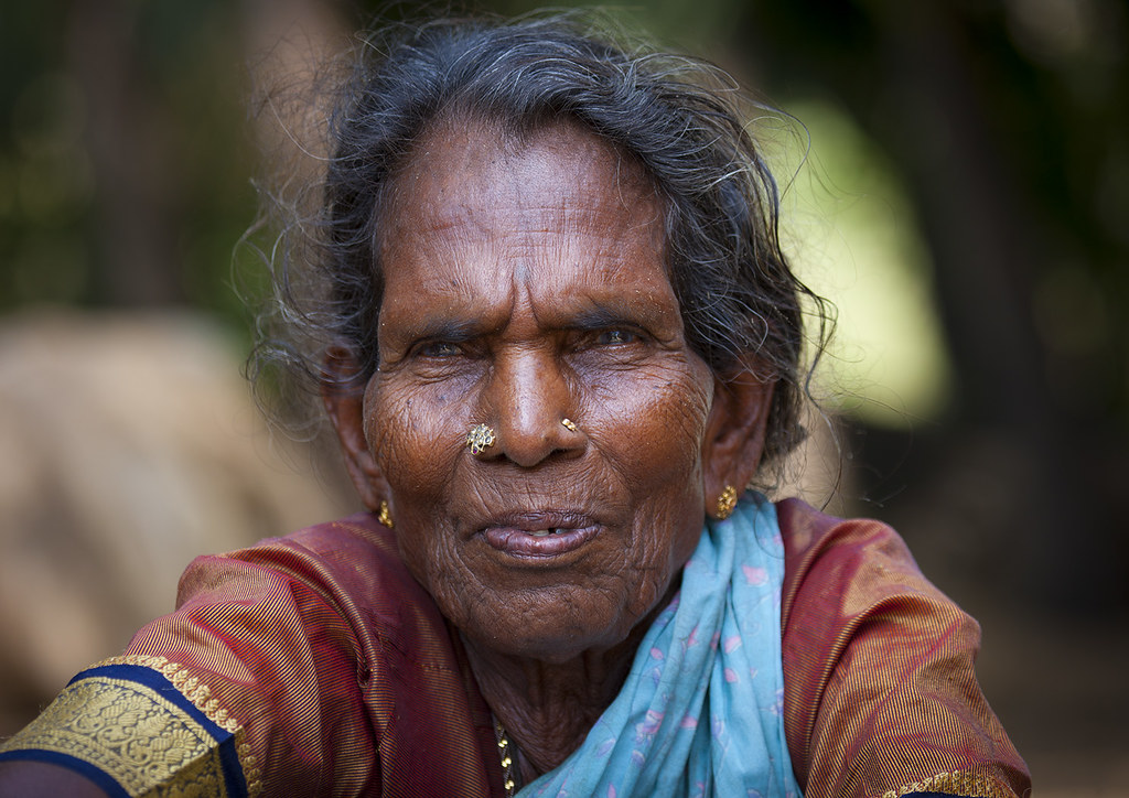 Portrait Of An Old Hindu Woman With Nose Piercing Mahabal Flickr