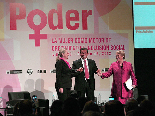 "US Secretary of State Hillary Rodham Clinton, Peruvian President Ollanta Humala Tasso and UN Women Executive Director Michelle Bachelet emphasized gender equality at the event ""Power: Women as Drivers of Growth and Social Inclusion,"" in Lima, Peru 