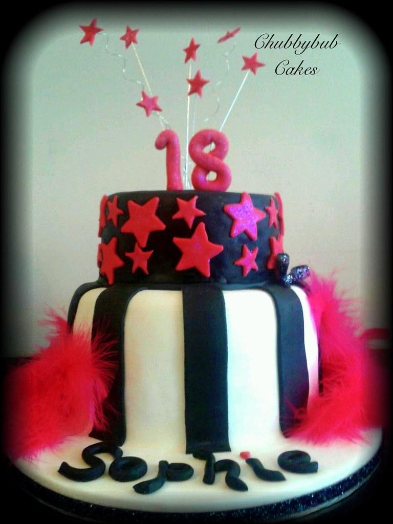 Pink And Black 18th Birthday Cake Happy 18th Sophie Lisa Jane