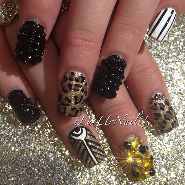 I Love Doing Crazy Nail Art Like This Black Rhinestones On Gold