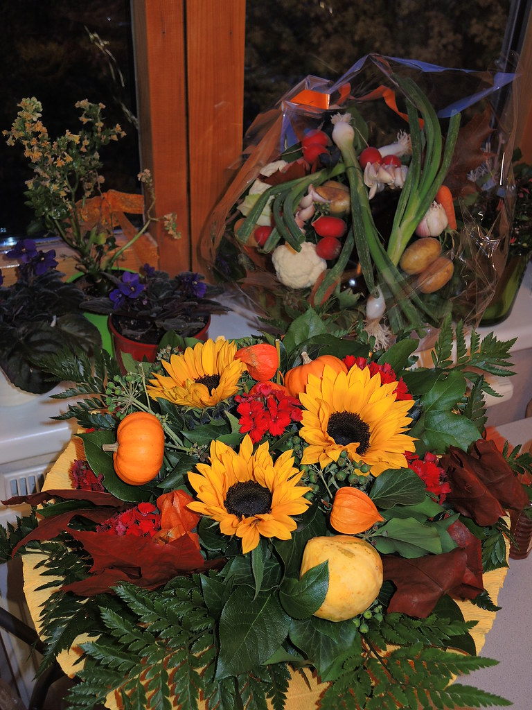 Flowers And Veggie Basket For My Grandpas 90th Birthday Flickr