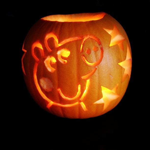 Peppa pig pumpkin courtesy of my lovely wife knife ski