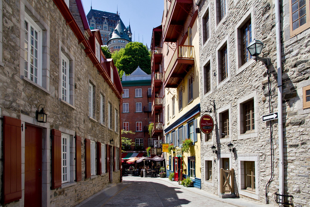 Old Quebec One Of Narrow Streets In Lower Part Of Old