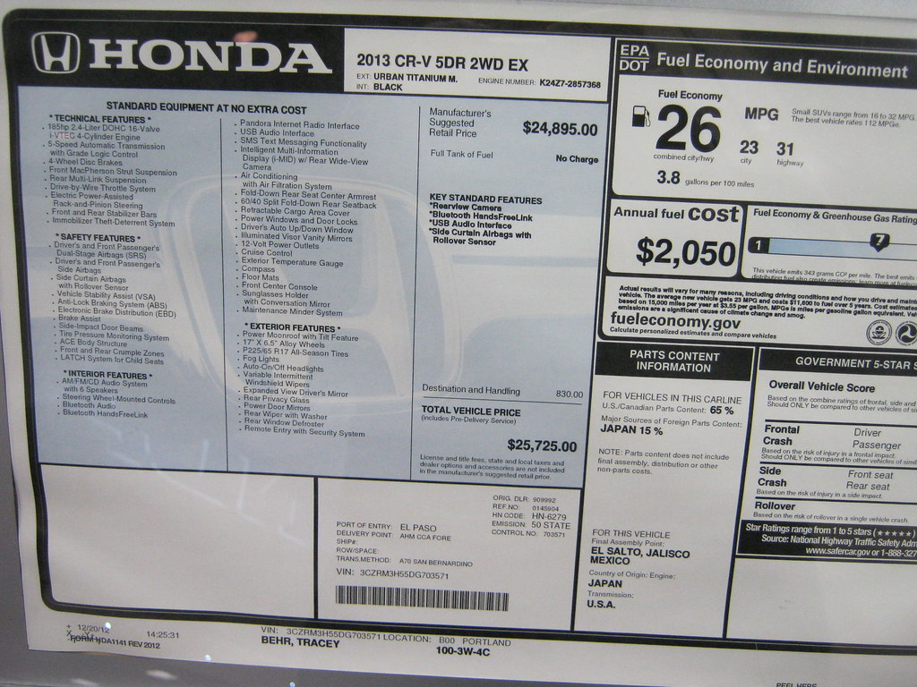 Honda Cr V 2013 Ex 25 725 Sticker For A Larger Image