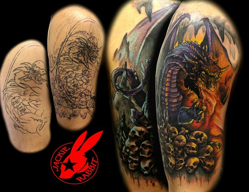 dragon cover up tattoo by jackie rabbit custom tattoo by j flickr. Black Bedroom Furniture Sets. Home Design Ideas