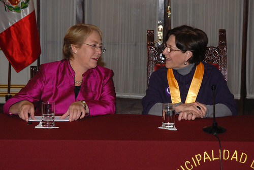 UN Women Executive Director Michelle Bachelet speaks with Lima's Mayor Susana Villarán before before being declared an honorary guest of the city on 16 October 2012 | by UN Women Gallery