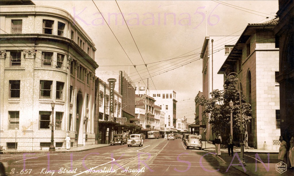 Block World Free >> King St at Bishop Honolulu 1940s | Looking more or less ...