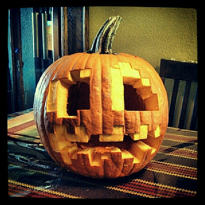 Minecraft halloween pumpkin carving pattern follow on