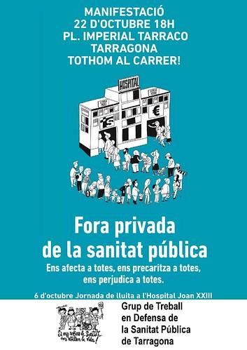 Fora privada de la sanitat pública. Manifestació el 22 d'octubre a Tarragona