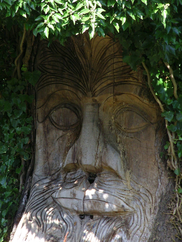 Guisborough green man trunk carving on a tree