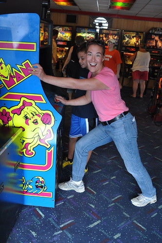 Julie demonstrates her Ms. Pac-Man prowess | by secondtree