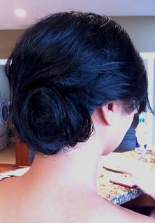 twist-bun-side-updo-bridesmaid | by vanmobilehair