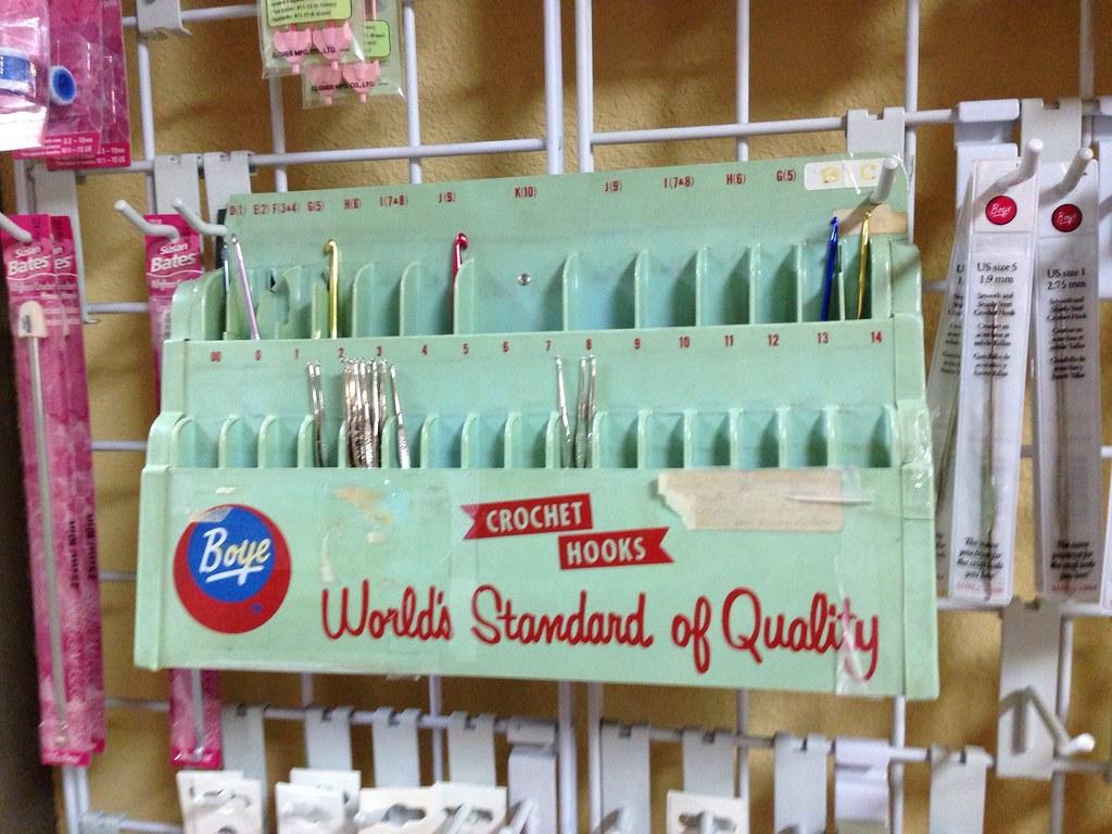 Vintage crochet hook display, Yarn Barn of San Antonio Flickr