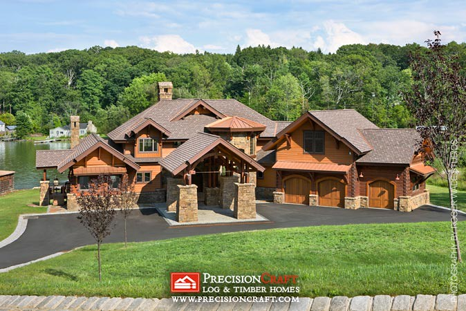 Complete hybrid log home view precisioncraft log timbe for Timber frame hybrid house plans