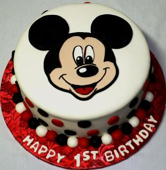 Pictures Of Mickey Mouse Face Cakes : Mickey Mouse Face Round 1st Birthday Cake Jeanne Flickr