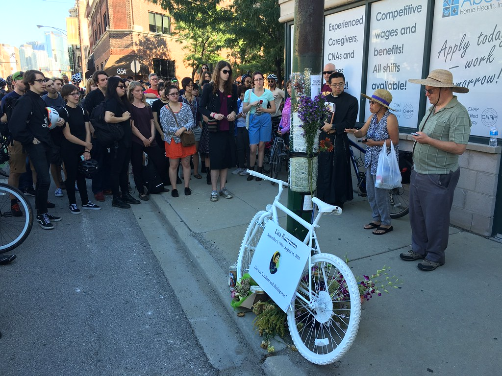 100 people came for Lisa Kuivenen's ghost bike memorial installation